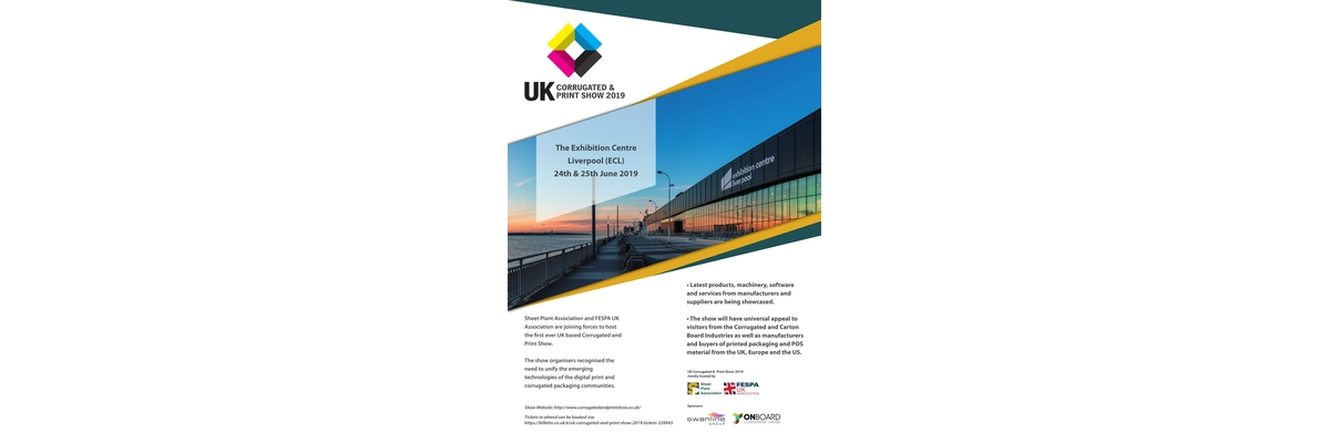 Advert for UK Corrugated and Print Show 2019